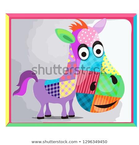 Quadro burro colorido vetor desenho animado Foto stock © Lady-Luck