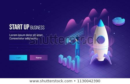 business · startup · banner · lijn · stijl · man - stockfoto © robuart