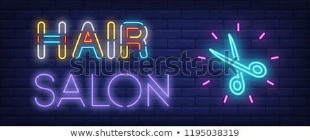 Neon kuaför tuğla duvar moda ışık Stok fotoğraf © konturvid