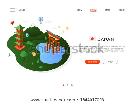 Visit Japan - modern colorful isometric web banner Stock photo © Decorwithme