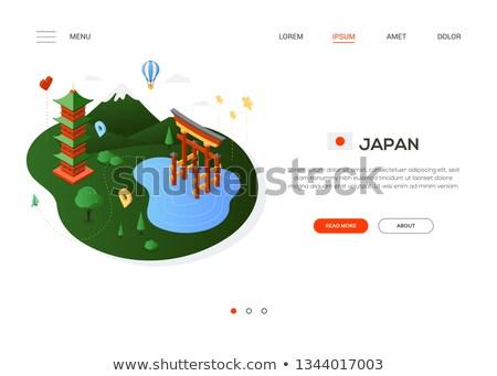 térkép · zászló · Japán · háttér · utazás - stock fotó © decorwithme