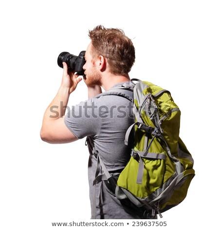 Hiking Boy on White Background Stock photo © colematt