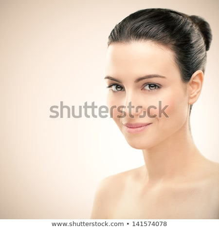 Beauty portrait of beautiful shirtless woman with long brown hai Stock photo © deandrobot