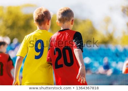 twee · jongens · voetbal · spelers · kleurrijk - stockfoto © matimix