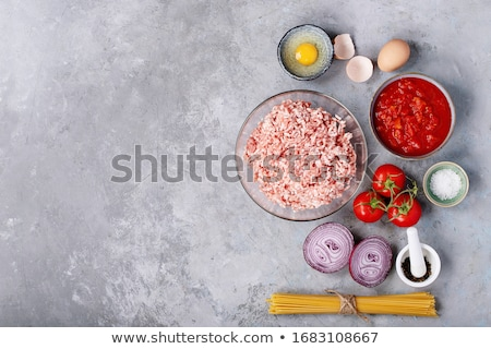 спагетти · мяса · небольшой · смешанный · служивший - Сток-фото © simply