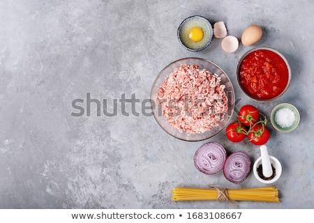 спагетти · мяса · продовольствие · сыра · вилка · блюд - Сток-фото © simply