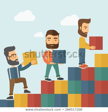 Empresário tijolo tijolos crescente estatística Foto stock © alphaspirit