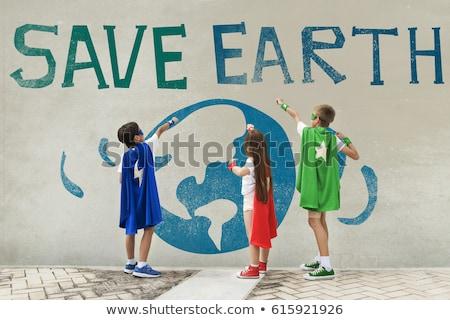 Gyerekek föld napja ikon illusztráció természet Föld Stock fotó © colematt