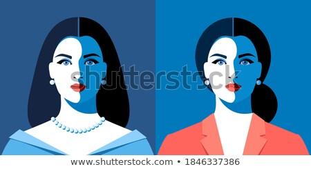Nő üzlet öltöny hosszú haj piros ajkak fehér blúz Stock fotó © ElenaBatkova