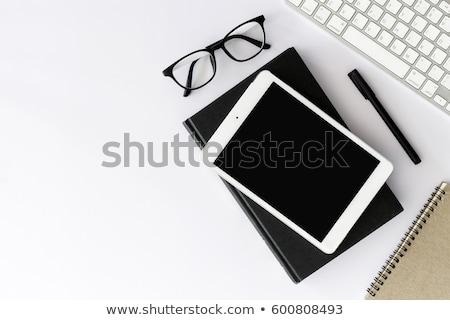 iroda · munkahely · asztal · szemüveg · készlet · felső - stock fotó © karandaev