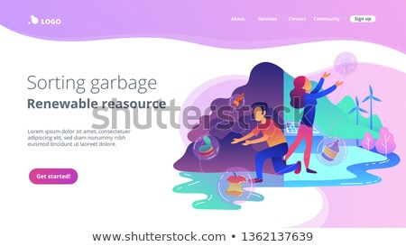 Sorting garbage and renewable resourse landing page. Stock photo © RAStudio