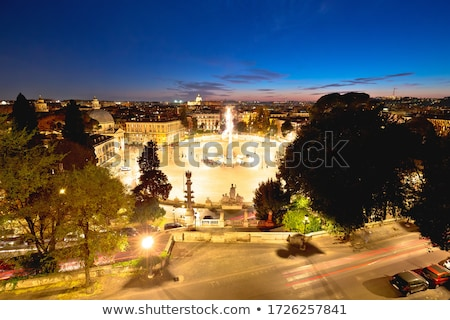 Piazza del Popolo or Peoples square in eternal city of Rome suns Stock photo © xbrchx
