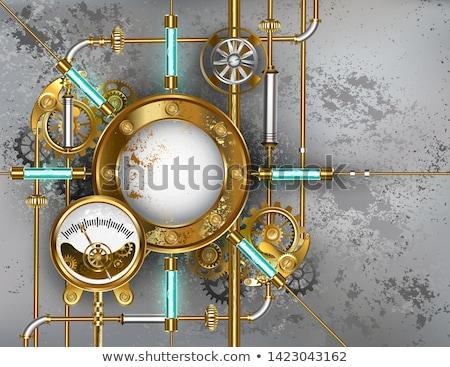 Steampunk round banner with pressure gauge Stock photo © blackmoon979
