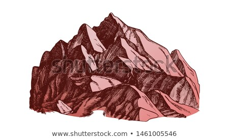 Color High Mountain Crag Landscape Hand Drawn Vector Stock photo © pikepicture