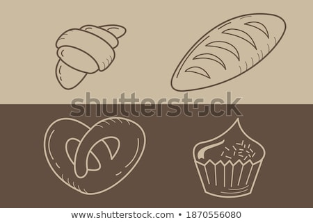 brown croissant icon isolated on a beige background vector illus stock photo © cidepix