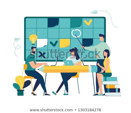 Időbeosztás emberek tömés menetrend tervez vektor Stock fotó © robuart