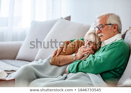 Photo stock: Maturité · couple · moucher · lit · chambre