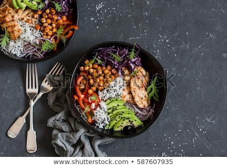 Sani cibo biologico vegetali insalatiera illustrazione colorato Foto d'archivio © cienpies