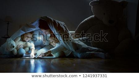 Anya lánygyermek pléd megvilágított zseblámpa ágy Stock fotó © AndreyPopov
