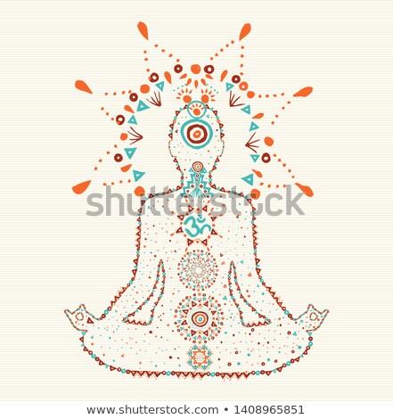 Woman doing lotus yoga pose in boho art style Stock photo © cienpies