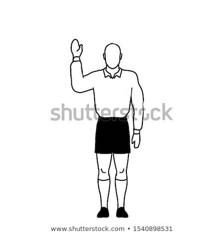 Rugby Referee penalty free kick Hand Signal Drawing Retro Stock photo © patrimonio