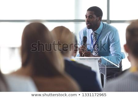 Widok z boku biznesmen mikrofon różnorodny Zdjęcia stock © wavebreak_media