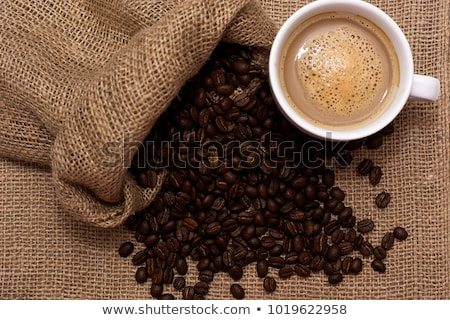 Quente grãos de café pano de saco café Foto stock © mizar_21984