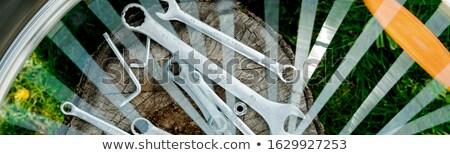 Banner of Bicycle repair. Tools, instrument for repairing bike Stock photo © Illia