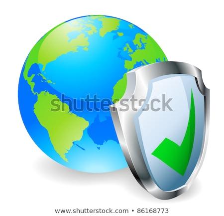 地球 保護された 緑 メタリック シールド シンボル ストックフォト © make