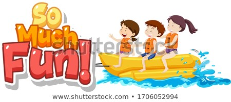 Font design for phrase so much fun with kids playing Stock photo © bluering