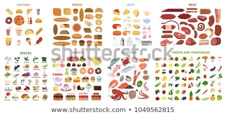 Fehérje étel táplálkozás gyűjtemény ikon szett vektor Stock fotó © pikepicture
