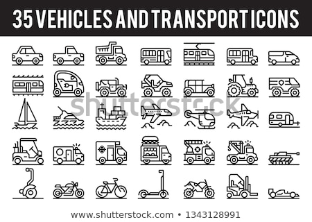 Plane Tow Truck Icon Vector Outline Illustration Stock photo © pikepicture