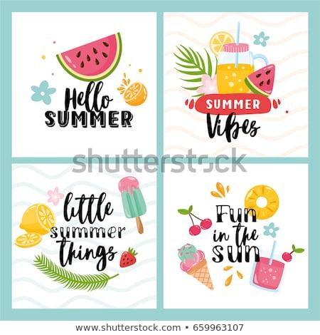 Vruchten ontwerp zomervakantie tijd typografie leuze Stockfoto © BlueLela