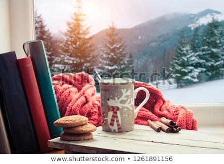 smartphone, hot chocolate and autumn leaves Stock photo © dolgachov