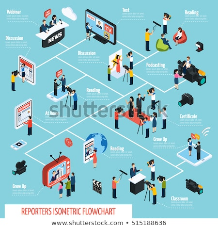 Journalist Reporter Isometric Icons Set Vector Stock photo © pikepicture