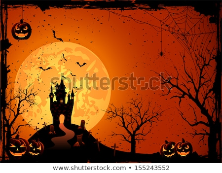 Stock photo: grungy halloween background with pumpkins house and bats