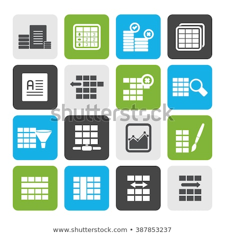 database · tabel · iconen · vector · technologie - stockfoto © stoyanh