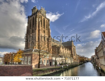 Clock tower of Dordrecht cathedral, Holland Stock photo © duoduo
