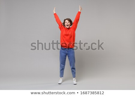 Stockfoto: Opgewonden · vrouw · handen · omhoog · pose · mooie · jonge · vrouw
