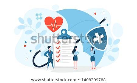 Egészségbiztosítás tábla mutat pénz bank törődés Stock fotó © mybaitshop
