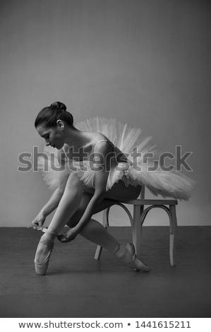 dansçı · siyah · kız · sandalye · bale · yalıtılmış - stok fotoğraf © pekour