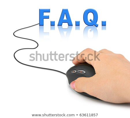 Stockfoto: Hand · computermuis · woord · faq · internet · muis