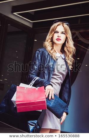 Glamorous Blonde Woman Out Shopping Stock photo © stryjek