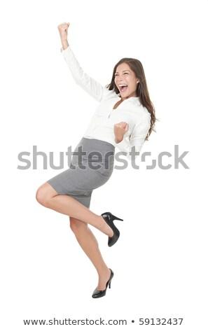 sucesso · vencedor · mulher · de · negócios · isolado · engraçado · imagem - foto stock © dacasdo