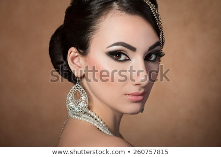 brunet woman with pearl beads Stock photo © marylooo