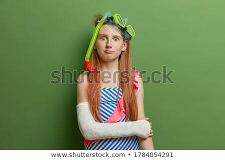Kislány tengerpart visel fürdőruha búvárkodik apparátus Stock fotó © photography33