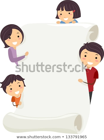Family members holding a blank scroll Stock photo © Vg