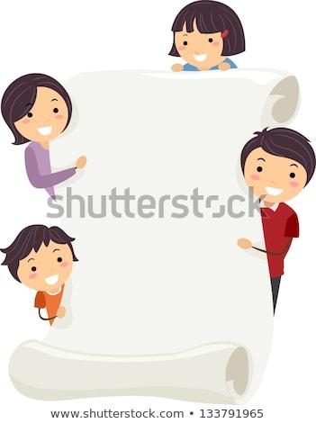 Famille défiler liste mains papier Photo stock © Vg