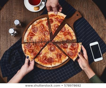 domates · sosu · pizza · adam · gıda · ekmek · yağ - stok fotoğraf © ozaiachin