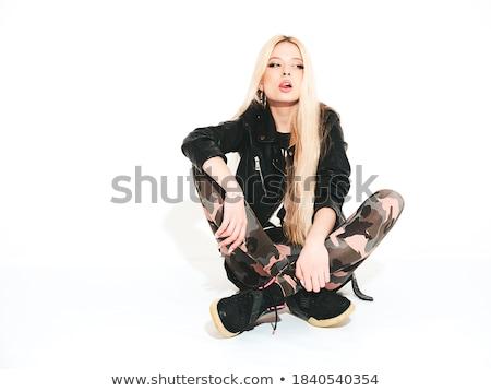 Gyönyörű játékos fiatal barna hajú fekete macskanadrág Stock fotó © acidgrey